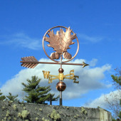 Oak Leaves and Acorn Weathervane right side vie on cloudy sky background