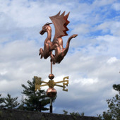 Dragon Weathervane with Wings and Claws rear view on cloudy background