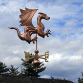 Dragon Weathervane with Wings and Claws right angle side view on cloudy background