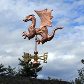 Dragon Weathervane with Wings and Claws northern side view on cloudy background