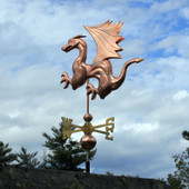 Dragon Weathervane with Wings and Claws left angle side view on cloudy background