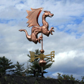 Dragon Weathervane with Wings and Claws right front view on cloudy background