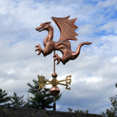 Dragon Weathervane with Wings and Claws left side view on cloudy background