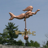 Mermaid Weathervane right side view on gray sky background
