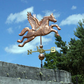 Large Flying Pegasus Weathervane front right angle side view on cloudy sky background
