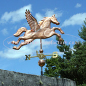 Large Pegasus Weathervane right angle side view on cloudy sky background