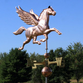 Flying Pegasus Weathervane front side view on blue sky background