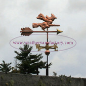 Small Witch Riding a Broom Weathervane right side view on stormy background