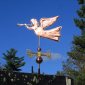 Angel Weathervane left side view on blue sky background
