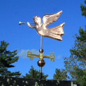 Angel Weathervane left angle view on blue sky background