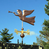 Angel Weathervane left front view on blue sky background