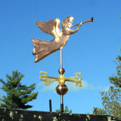 Angel Weathervane right front view on blue sky background