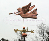 angel weathervane blowing trumpet left side view on gray sky background