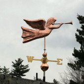 Angel Weathervane right side view on gray sky background
