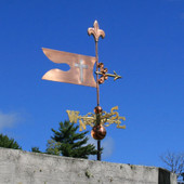 Banner with Cross Weathervane right side view on blue sky background