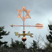 Star of David Weathervane left side view on stormy background
