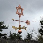 Star of David Weathervane front view on stormy background