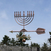 Large Menorah Weathervane left side view on blue sky background