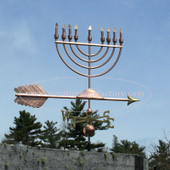 Large Menorah Weathervane right angle side view on blue sky background