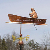 Man Rowing a Boat Weathervane left side view on stormy sky background