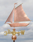 Friendship Sloop/Sailboat Weathervane left side view on cloudy background