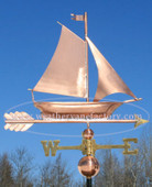 sailboat weathervane side view with blue sky background.