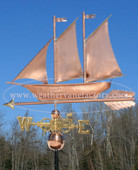 Schooner/Sailboat Weathervane left side view on blue sky background