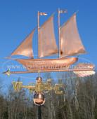 Schooner/Sailboat Weathervane left side view on blue sky background