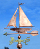 sailboat weathervane left side view on blue sky background