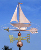 Sailboat Weathervane blue sky background left angle view