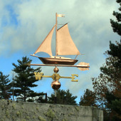 Sailboat Weathervane left angle side view on cloudy background