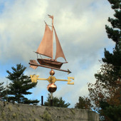 Sailboat Weathervane left angle rear view on cloudy background