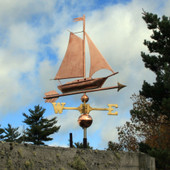 Sailboat Weathervane front angle side view on cloudy background