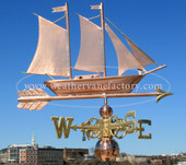 Schooner Weathervane right side view and shown with blue sky background.