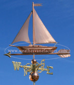 Sailboat Weathervane left side view on blue background