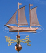 Schooner Sailboat Weathervane left side view on blue sky background