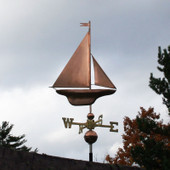 S Class Yacht Sailboat weathervane right side view with stormy background