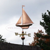 Copper S Class Yacht Sailboat weathervane left side view with stormy background