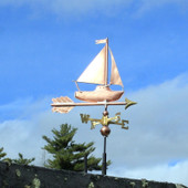 Little sailing ship weathervane right side view on blue sky background