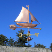 sloop sailboat weathervane right side view on blue sky background