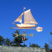 sloop sailboat weathervane left angle side view on blue sky background