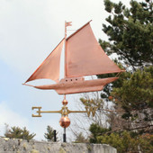 Large Friendship Sloop Weathervane left side view on cloudy background