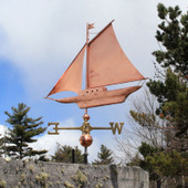 Large Friendship Sloop Weathervane left angle side view on cloudy background
