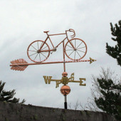 Bicycle Weathervane right side view on stormy background
