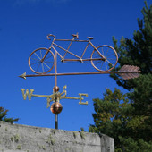 Tandem Bicycle Weathervane left side view on blue sky background