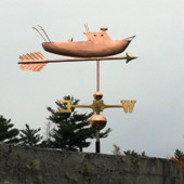Fishing Boat Weathervane right side view on cloudy sky background