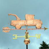 Old Tow Truck/Wrecker Weathervane right side view on blue sky background