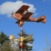 Biplane Airplane  Weathervane left side view on cloudy background