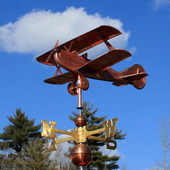 Biplane Airplane  Weathervane left front view on cloudy background