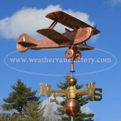 Biplane Airplane  Weathervane right side view on cloudy background